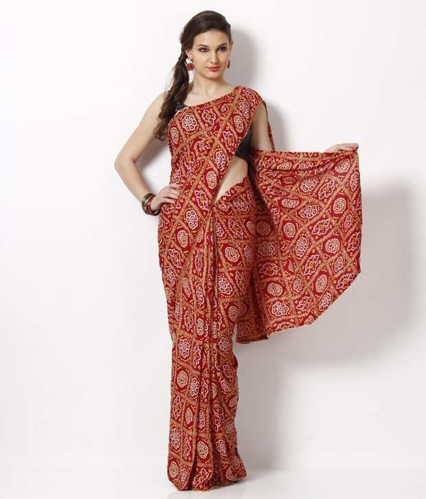 AVR Fashions Maroon Art Crepe Saree