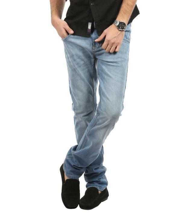 Blumerq Trendy Light Blue Faded Jeans
