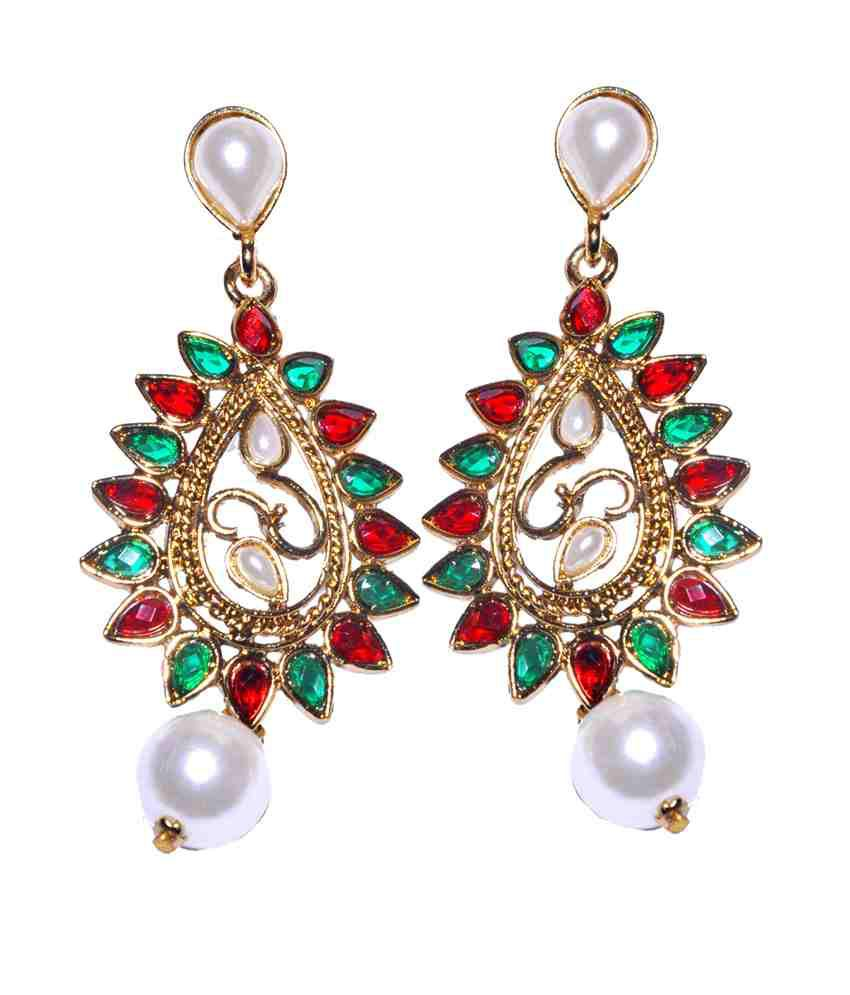 Red Chandelier India: Maayra Red Green Chandelier Earrings