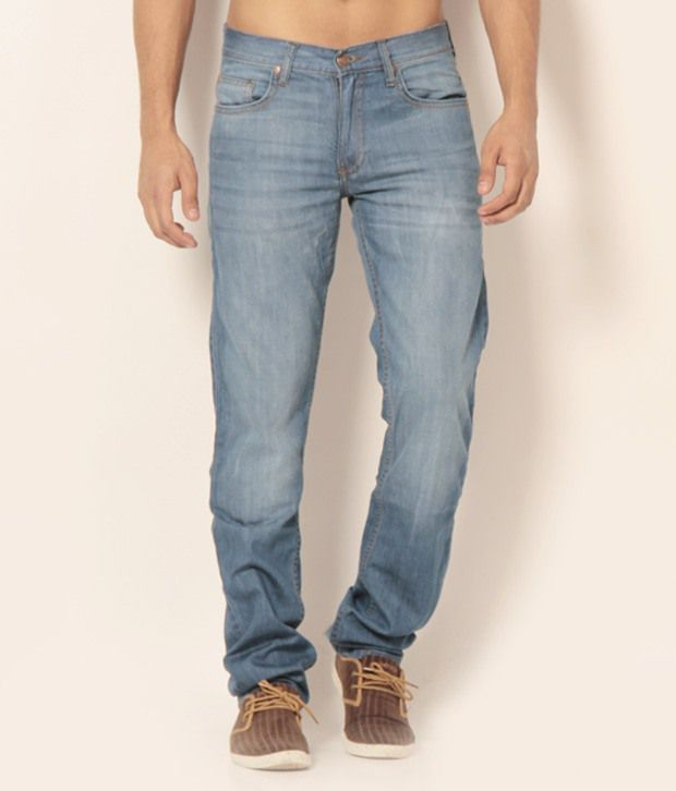 Newport Blue Faded Cotton Jeans
