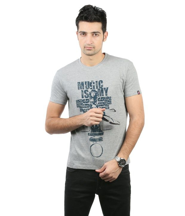 Blumerq Gray Half Sleeves Printed T Shirt