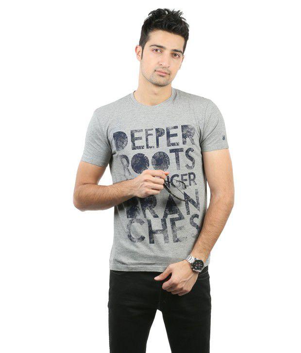 Blumerq Gray Printed T Shirt
