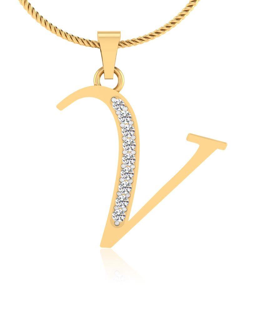 Forever Carat Real Diamond Alphabet V Pendant in 100% Certified 14kt ...
