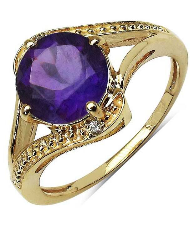 1.64CTW Genuine Amethyst & White Diamond 14K Yellow Gold Solitaire Ring