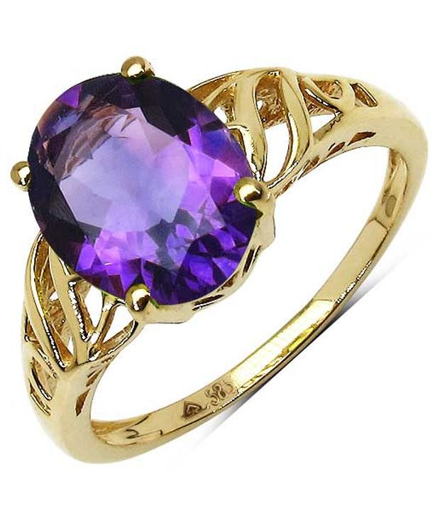 2.52CTW Genuine Amethyst 14K Yellow Gold Solitaire Ring
