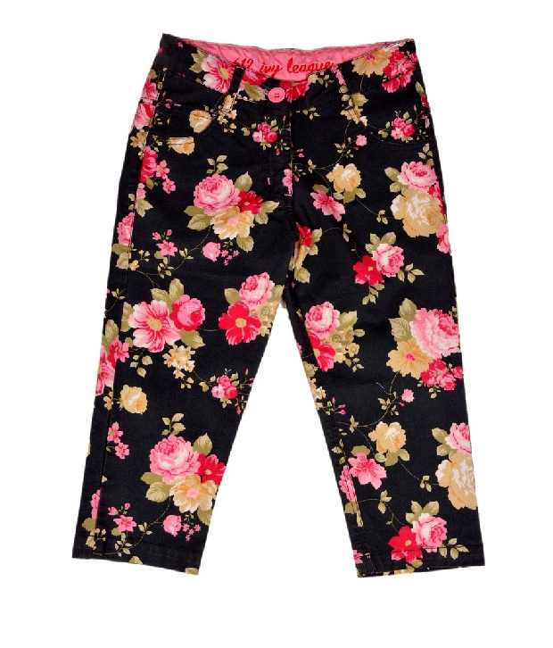 612Ivyleague Black Printed Capri For Kids