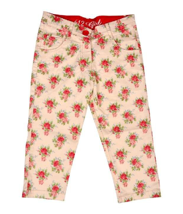 612Ivyleague Off White Printed Capri For Kids