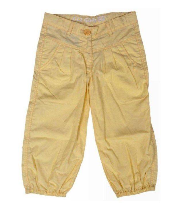 612Ivyleague Yellow Poplin Capri For Kids