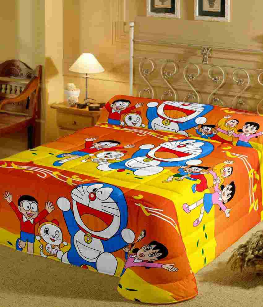 Cartoon Prints Doraemon Single Bed Sheet With Pillow Cover