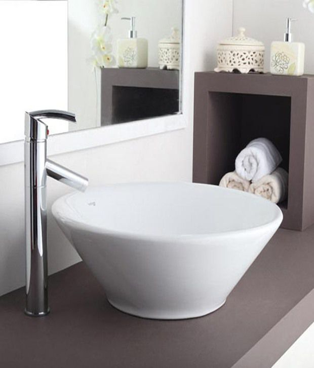 Buy hindware table top basin coral 52 dia white for Table 52 prices
