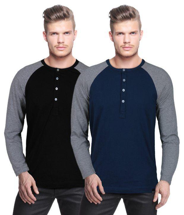 Rigo Fashionable Pack Of 2 Black-Navy Henley Neck T Shirts