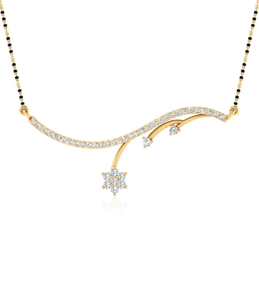 Forever Carat Real Diamond Midnight Star Mangalsutra in 100% Certified 14kt Gold