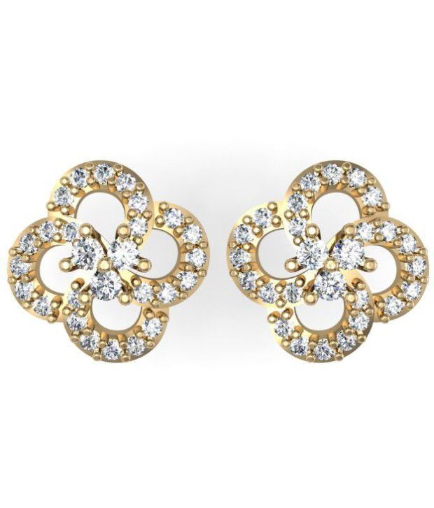 Exquisite Saanvi Diamond  Earring 0.25cts of best quality  diamonds studded in 18kt Gold