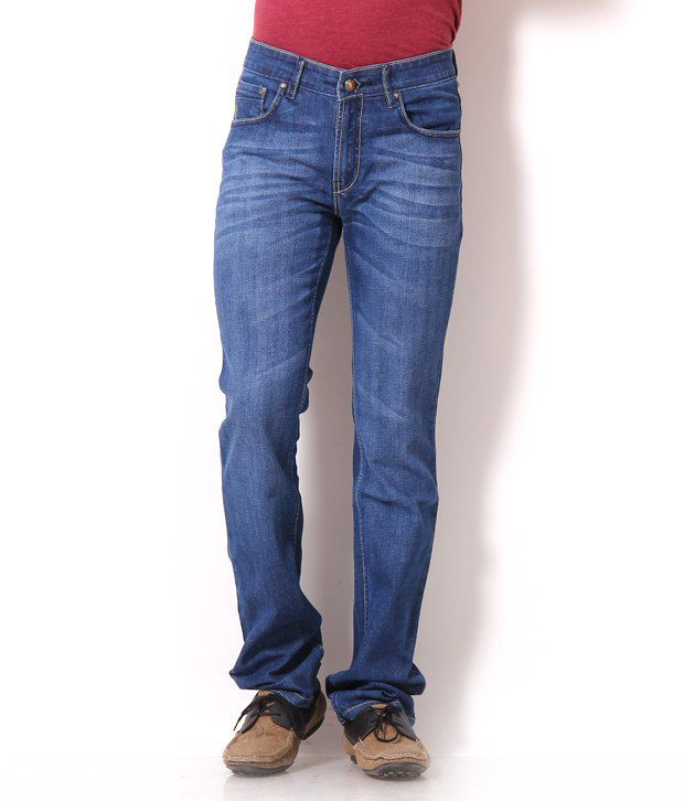 Harvest Light Blue Faded Jeans With Free Sports Watch