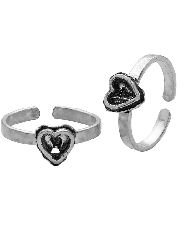 Voylla Oxidised Toerings Featuring Heart With Keyhole Design