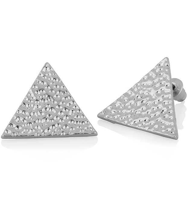 Voylla Stud Earrings Featuring Textured Triangular Design