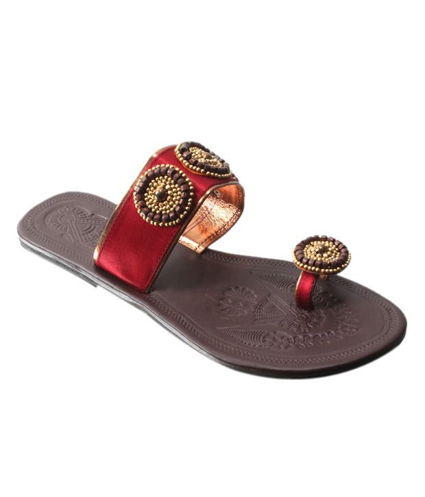 Blue&Bees Maroon & Golden Bead Sandals