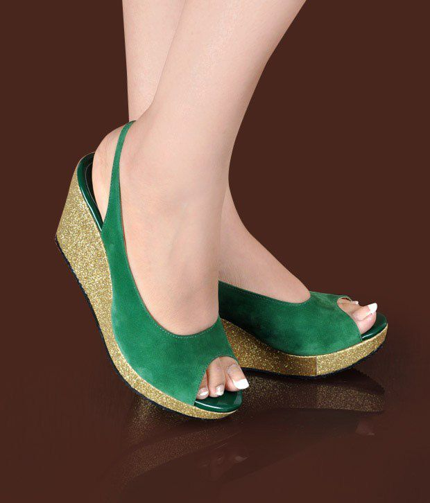 Butterfly Elegant Jade Green Wedge Heel Sandals