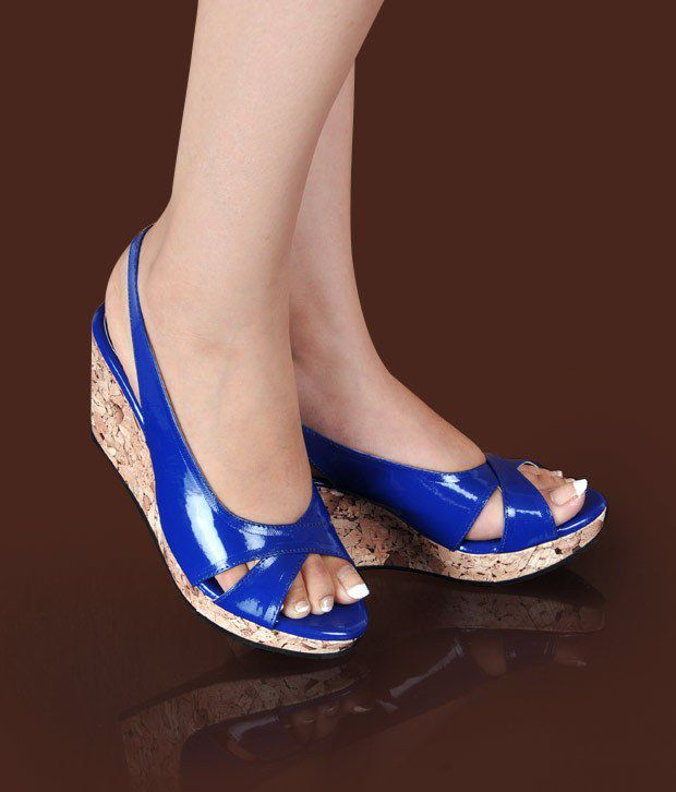 Butterfly Smart Royal Blue Wedge Heel Sandals