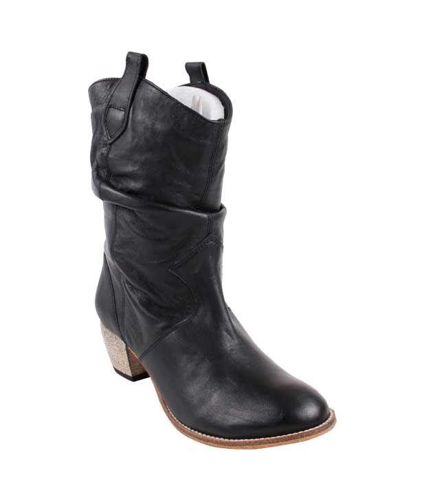 Carlton London Black Mid Calf Heel Boots