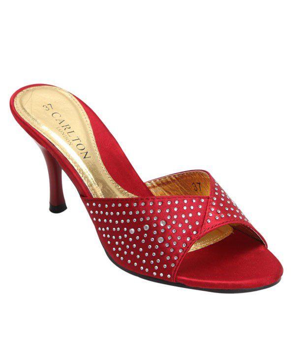 Carlton London Red Heel Slip-on Sandals
