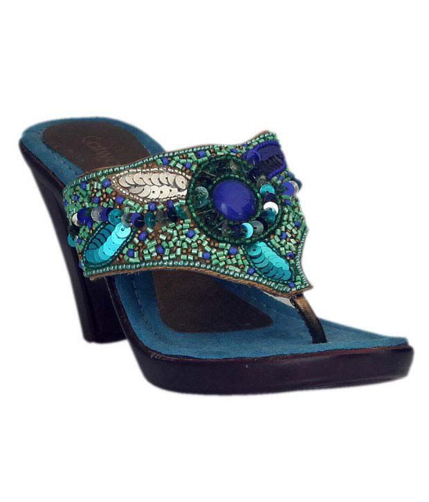 Catwalk Blue & Green Slip-on Wedge Heels