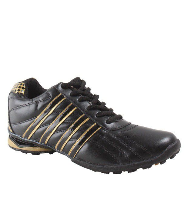 Cyke Firm Black & Golden Sport Shoes