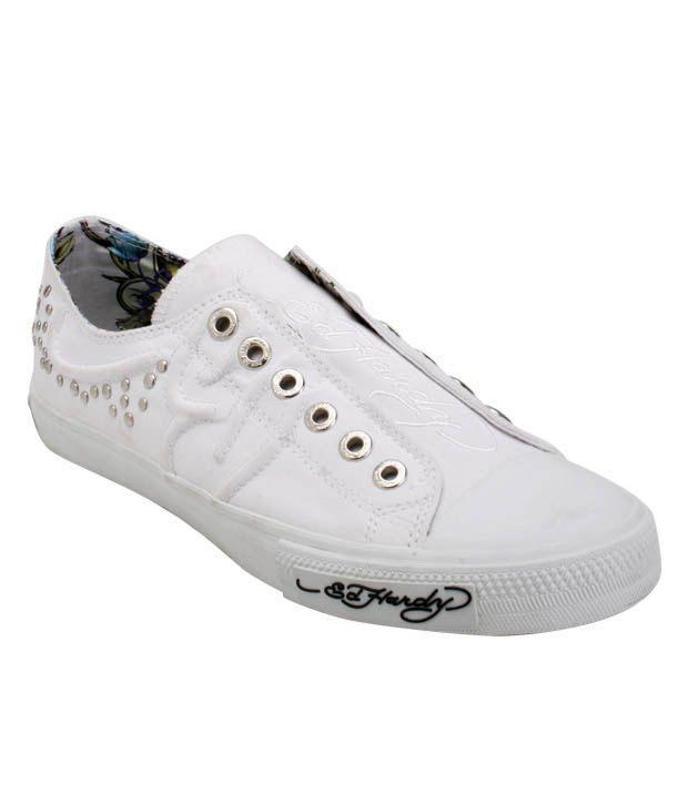 Ed Hardy White Studded Canvas Shoes