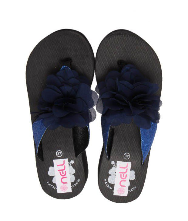 FNB-Nell Floral Blue Slippers
