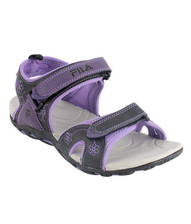 Fila Shelby Black & Purple Floral Floaters