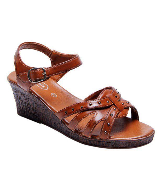 Imprints Tan Embellished Heel Sandals