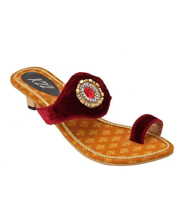 K22 Captivating Maroon Slip-on Sandals