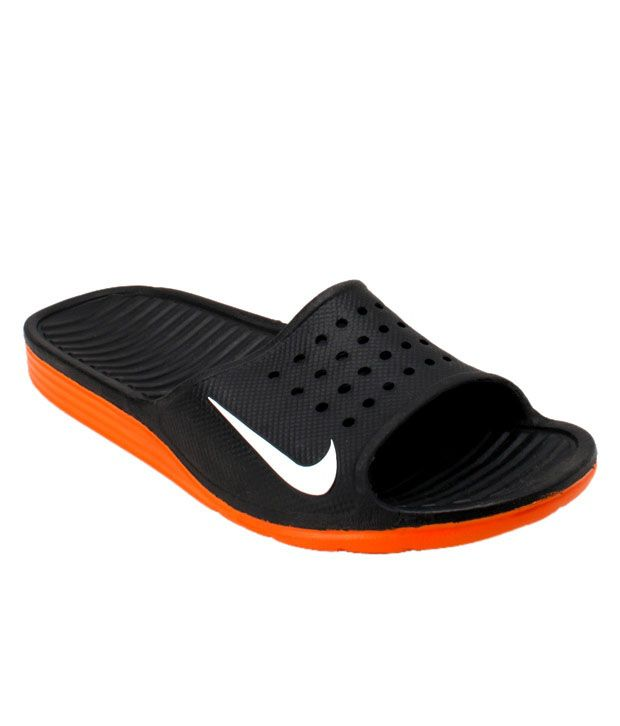 Nike Solar Soft Slide Black & Orange Slippers