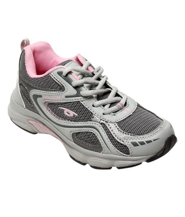 Prozone Grey & Light Pink Sports Shoes