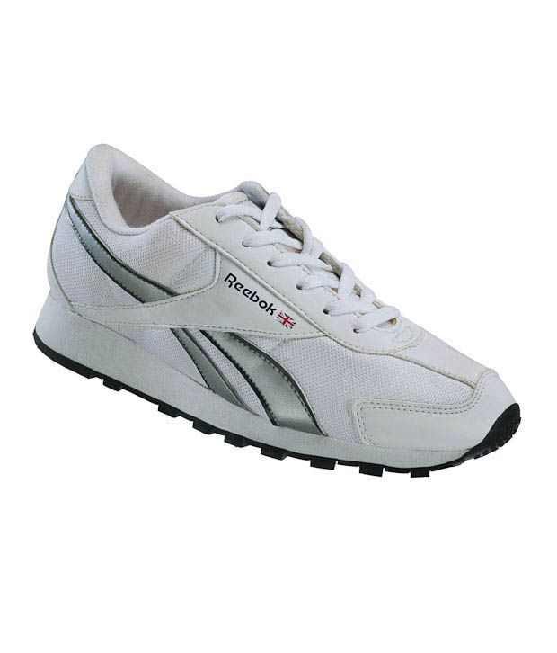Reebok Aviator White & Silver Running Shoes