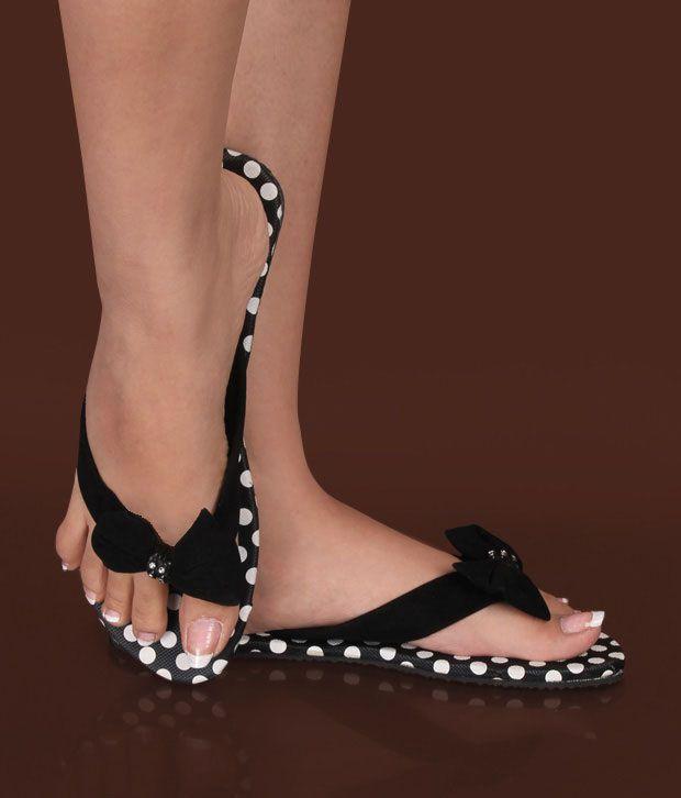 Stol'n Black Polka Dots Slippers