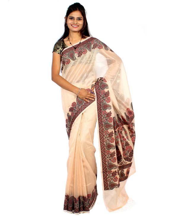 Bunkar Pure Cotton Supernet Fancy Aanchal Border Beige Saree