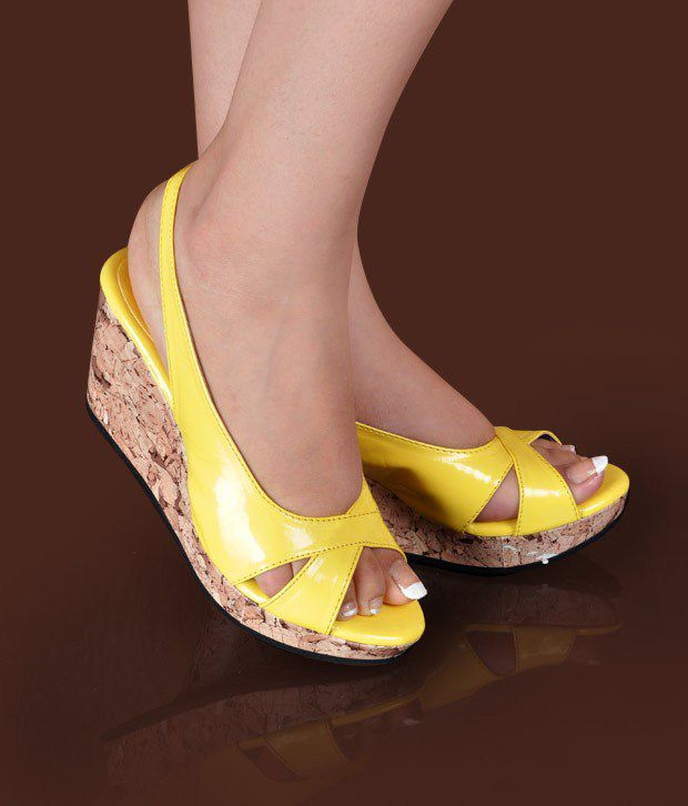 Butterfly Smart Yellow Wedge Heel Sandals