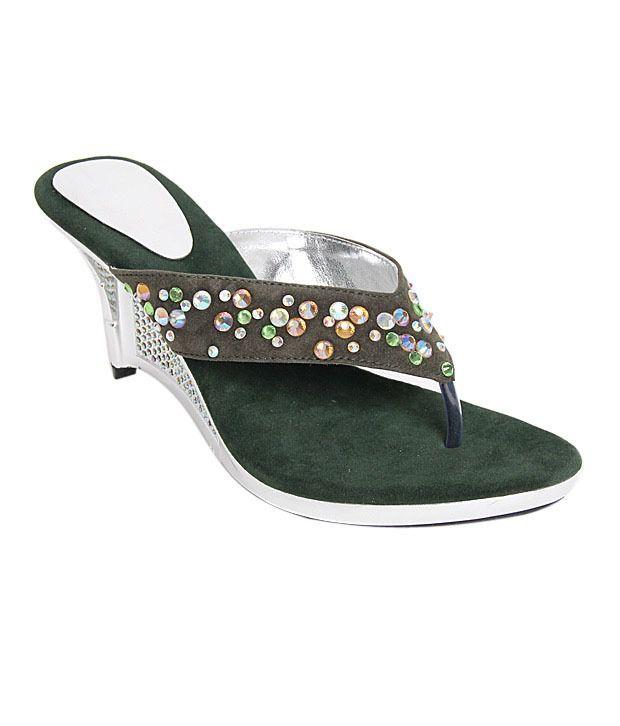 Buttrefly Studded Green Slip-on Heels