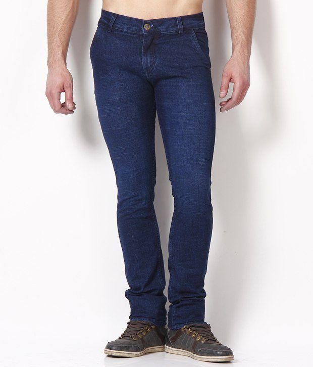 Coral Blue Cotton Jeans