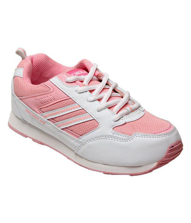 Nicholas Active White & Pink Sports Shoes