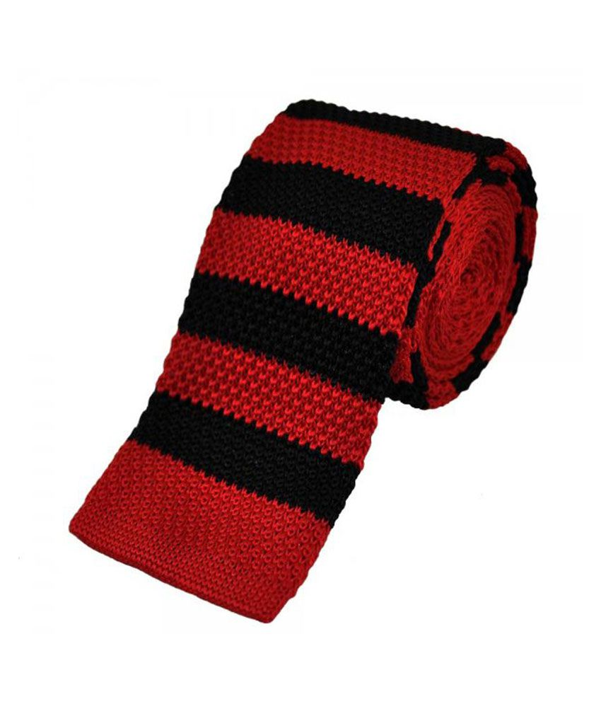 Civil Outfitters Red & Black Striped Knitted Tie with Key Chain Dairy
