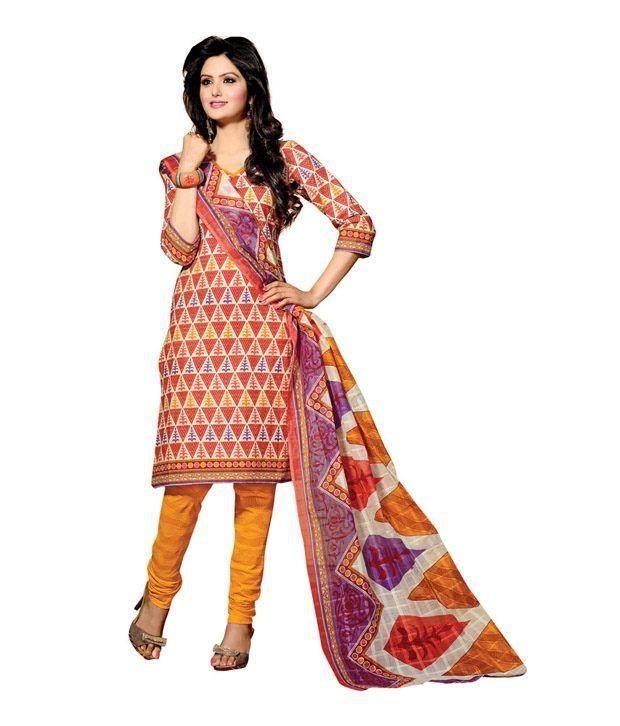 Cotton Bazaar Orange Cotton Unstitched Dress Material