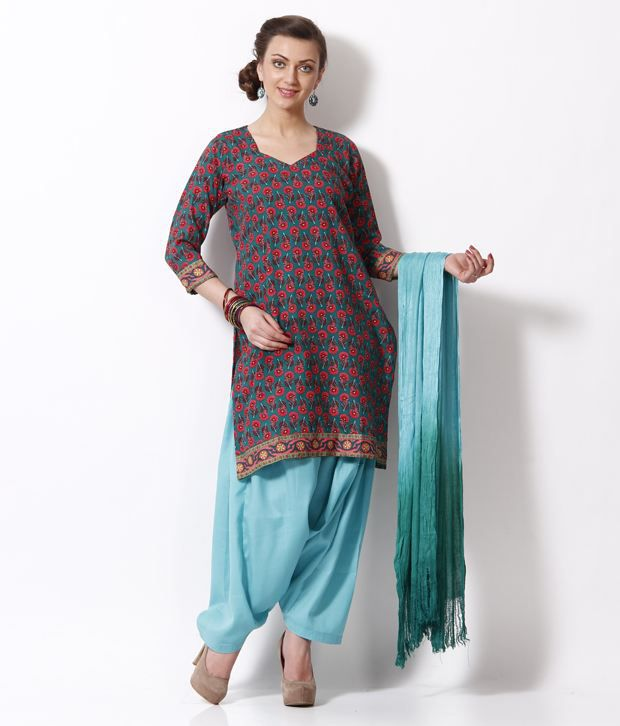 Fab Fashion Teal Green Printed Stitched Salwar Suit With Dupatta