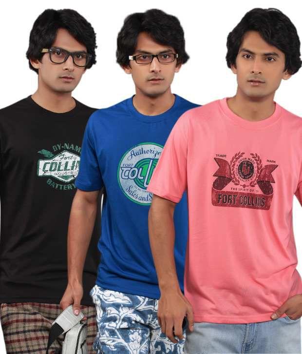 Fort Collins Pack Of 3 Black-Blue-Pink T Shirts
