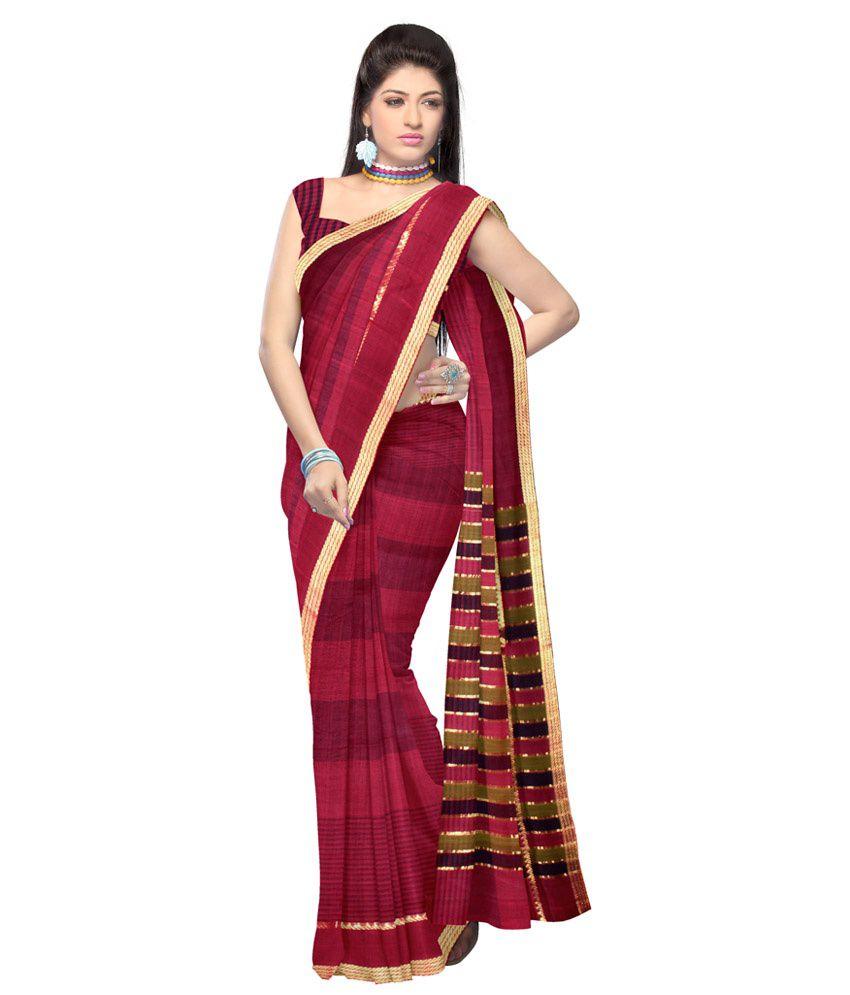 Unnati Silks Purple Pure Handloom Mangalgiri Cotton Saree