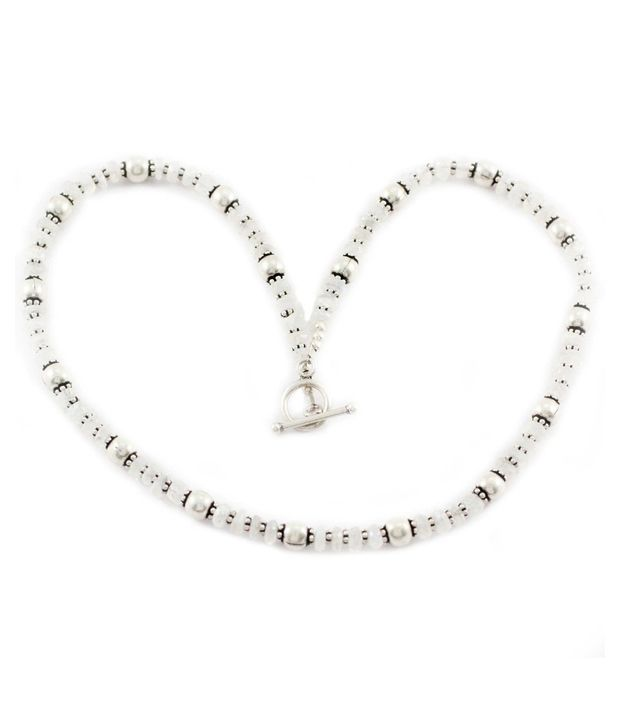 925 Silver Moonstone Silver Findings Beaded Necklace For Women