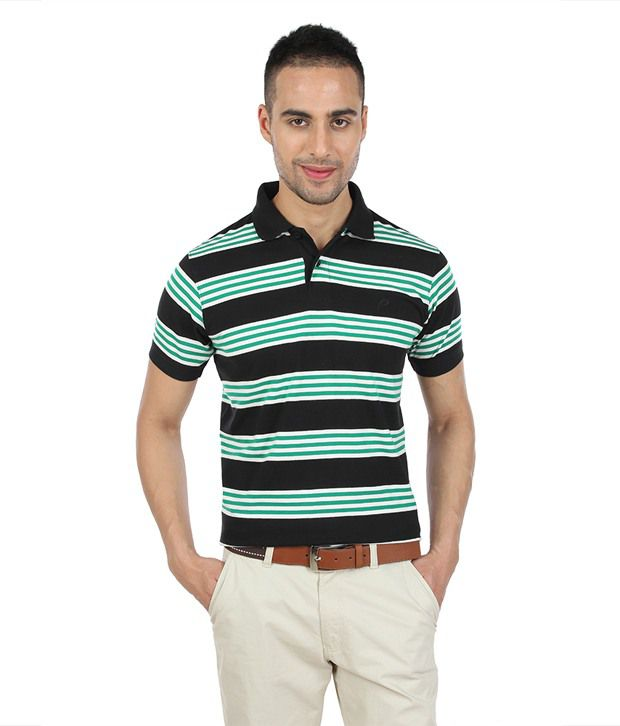 Proline Mercerised Cotton Striper Green Polo T Shirt