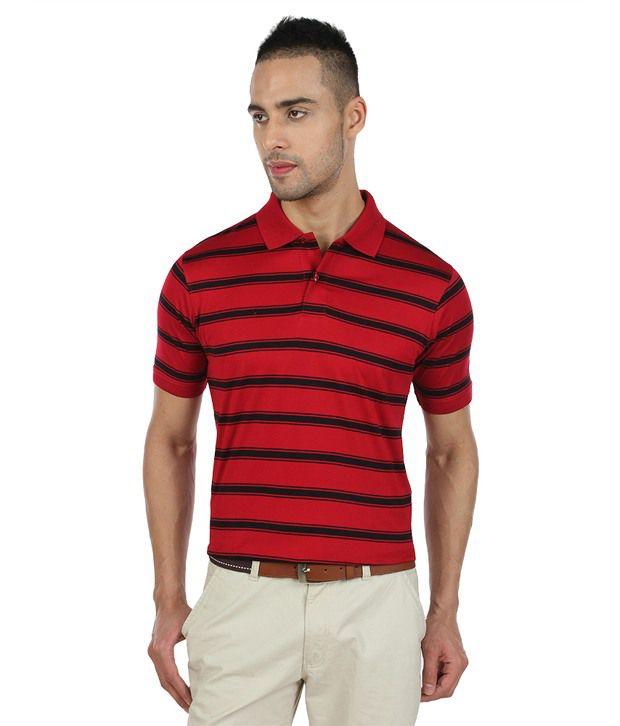 Proline Red Striper Polo T Shirt