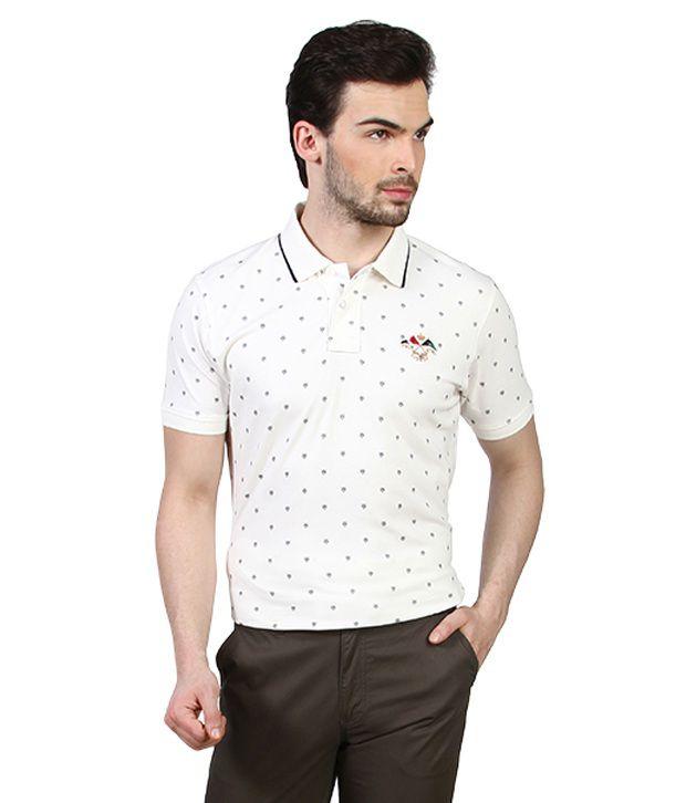 Proline White Heraldic Retro Polo T Shirt